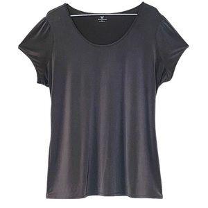 WORTHINGTON Blouse gray scoop neck short sleeves